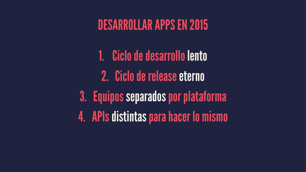 DESARROLLAR APPS EN 2015 1. Ciclo de desarrollo...