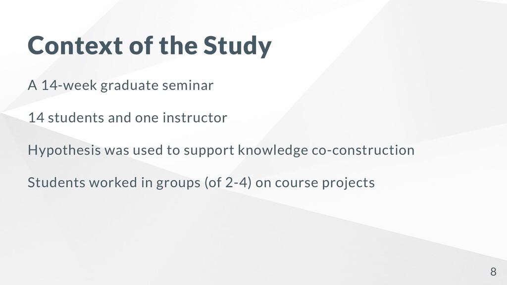Context of the Study A 14-week graduate seminar...