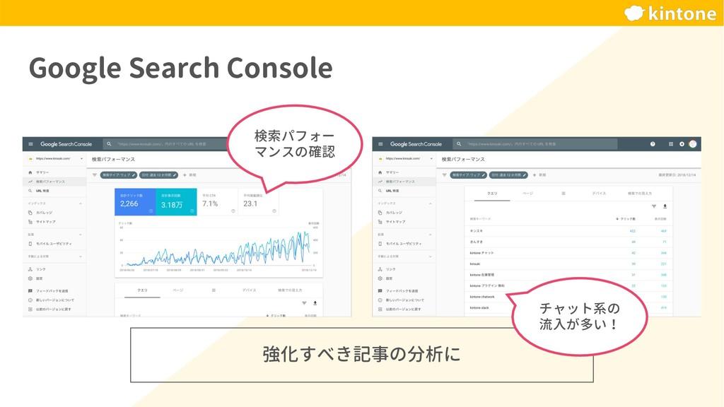 強化すべき記事の分析に Google Search Console 検索パフォー マンスの確認...