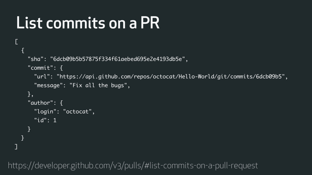 List commits on a PR https://developer.github.c...