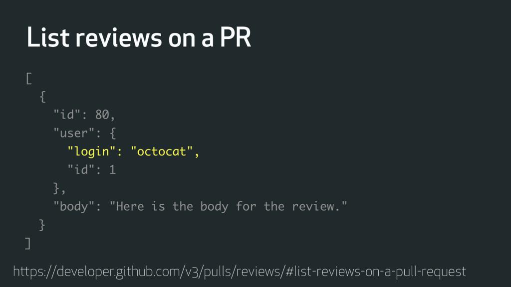 List reviews on a PR https://developer.github.c...