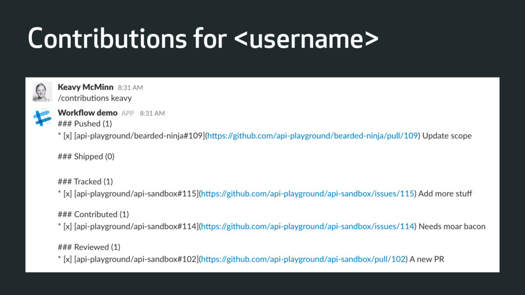 Contributions for <username>