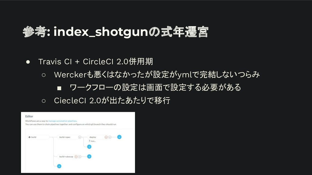 参考: index_shotgunの式年遷宮 ● Travis CI + CircleCI 2...