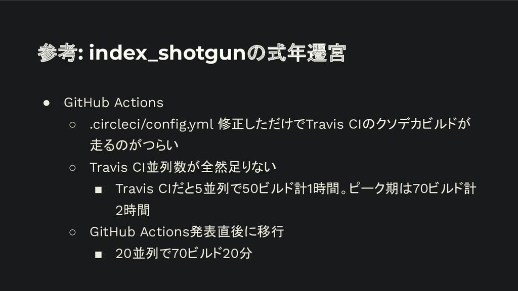 参考: index_shotgunの式年遷宮 ● GitHub Actions ○ .circ...