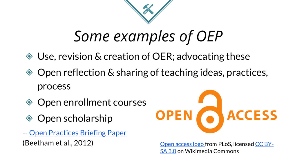 Some examples of OEP ◈ Use, revision & creation...
