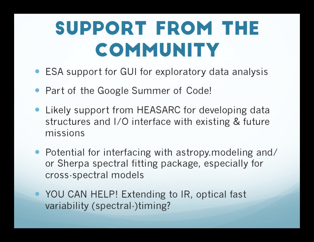 Support from the Community — ESA support for ...