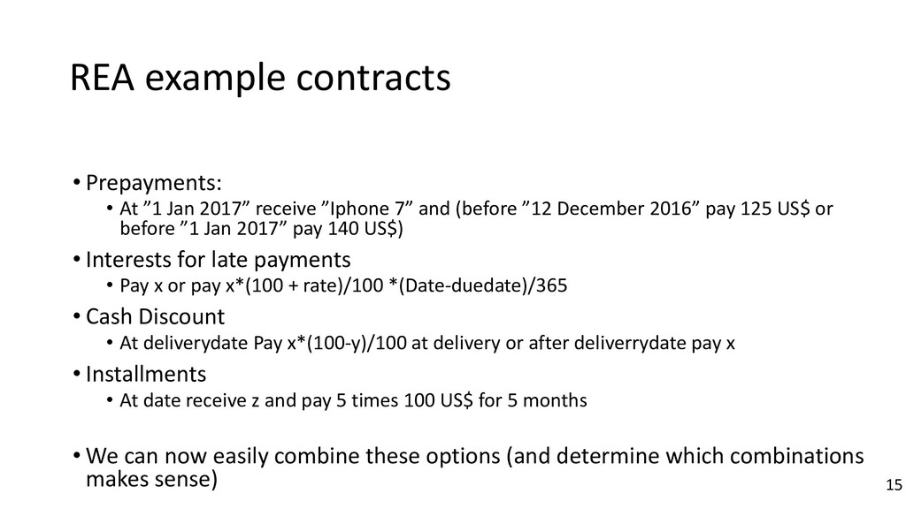 """REA example contracts • Prepayments: • At """"1 Ja..."""