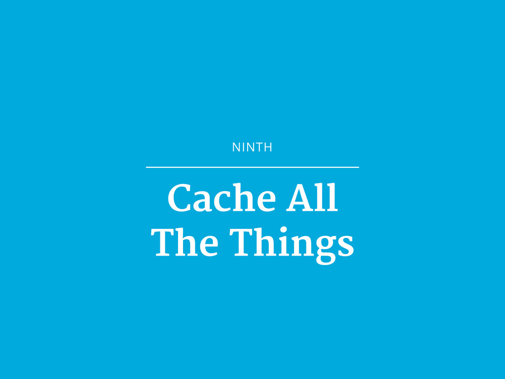 NINTH Cache All  The Things
