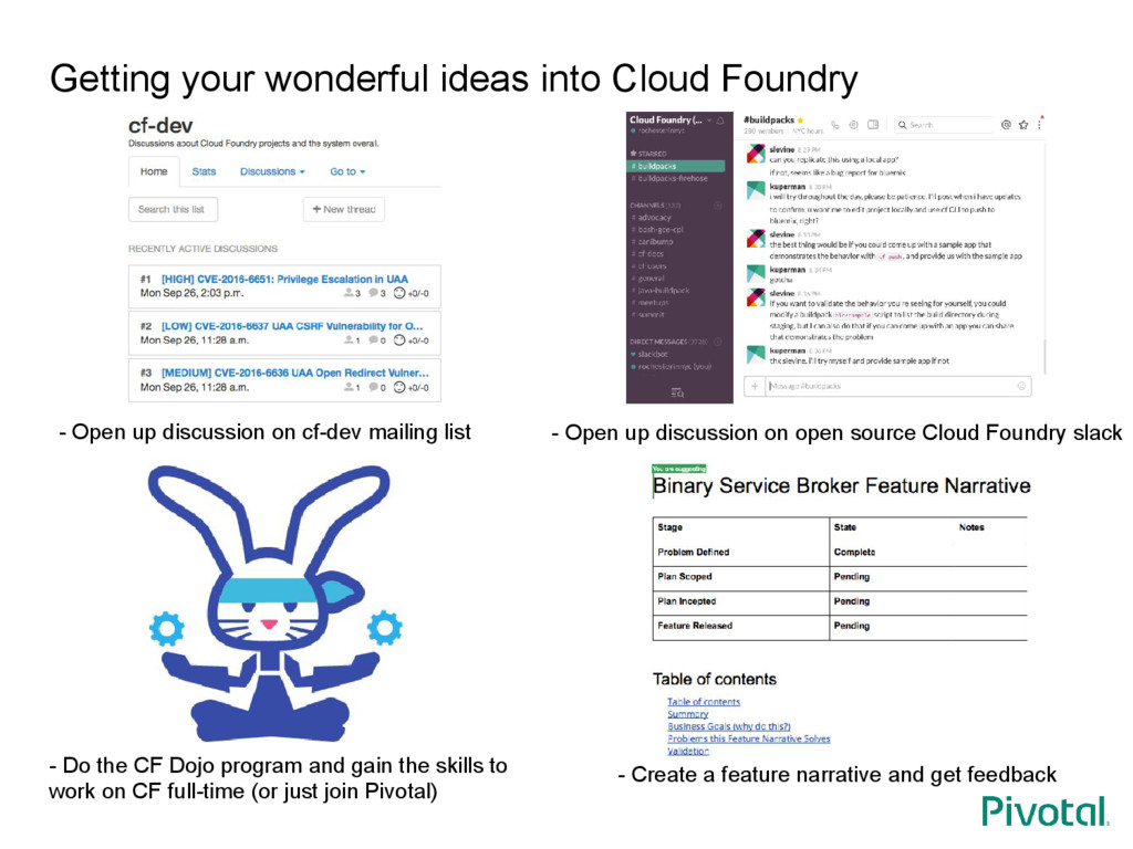 Getting your wonderful ideas into Cloud Foundry...