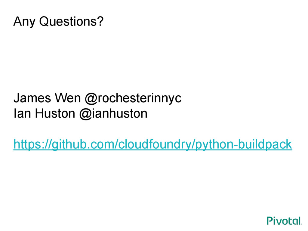 Any Questions? James Wen @rochesterinnyc Ian Hu...