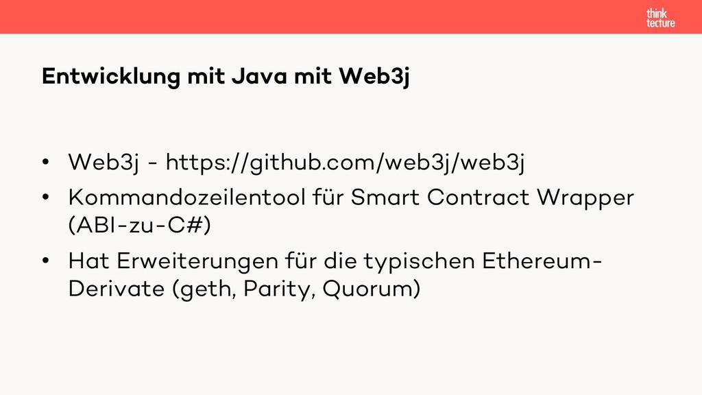 • Web3j - https://github.com/web3j/web3j • Komm...