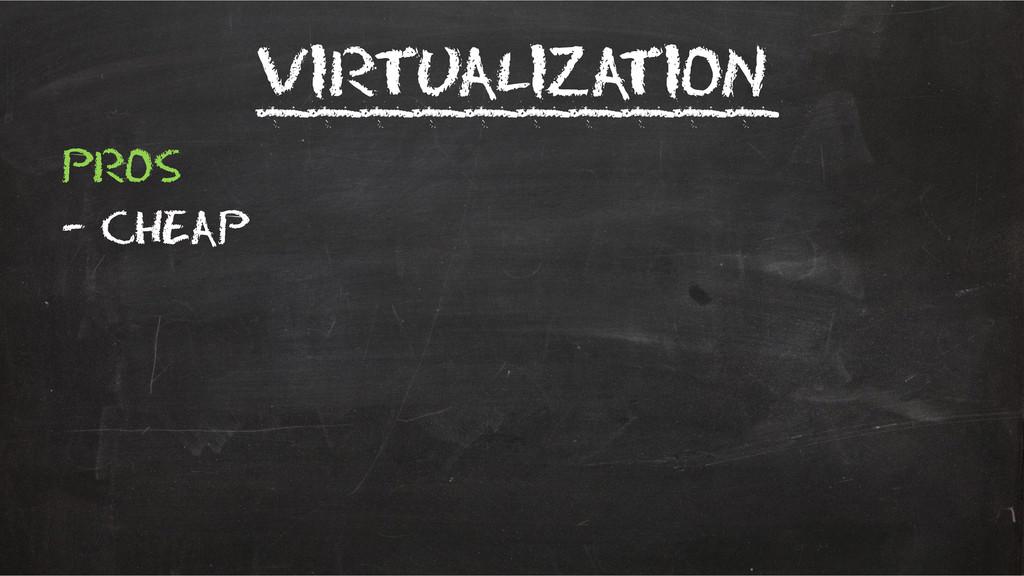 Virtualization __________ Pros – Cheap