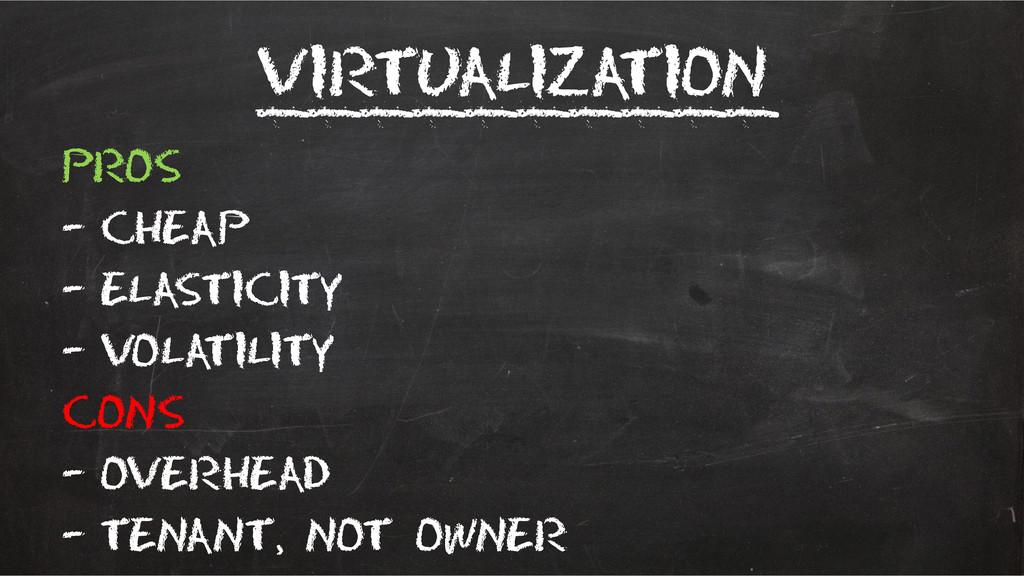 Virtualization __________ Pros – Cheap – elasti...