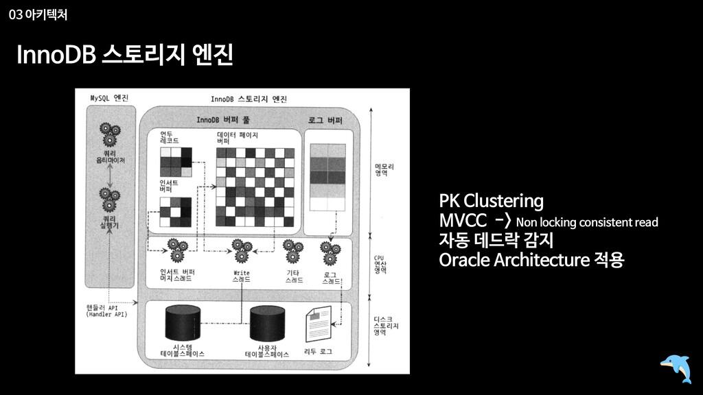 03 아키텍처 InnoDB 스토리지 엔진 PK Clustering  MVCC -> N...