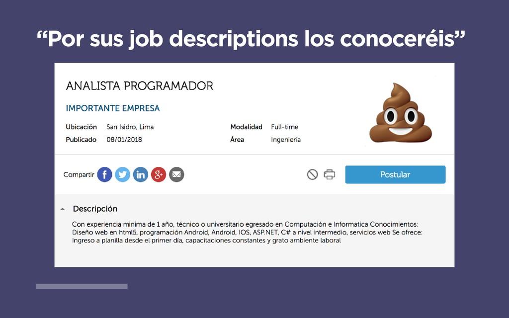 """""""Por sus job descriptions los conoceréis"""""""