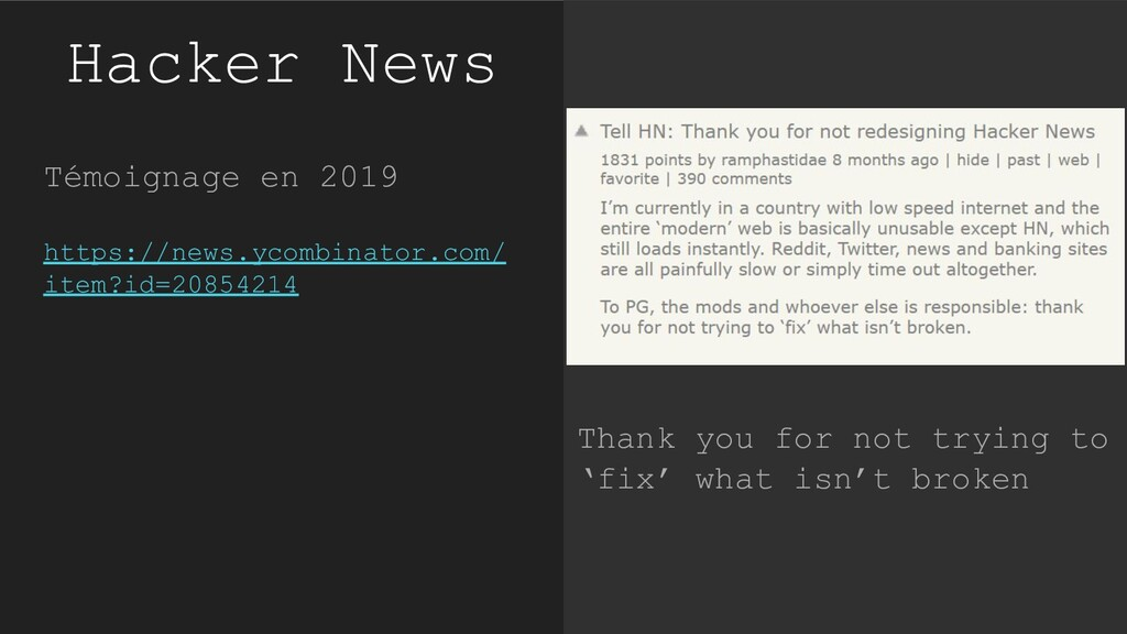 Hacker News Témoignage en 2019 https://news.yco...