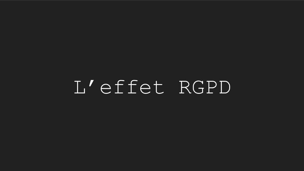 L'effet RGPD