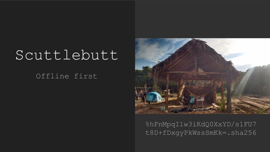 Scuttlebutt Offline first %hFnMpqI1w3iKdQ0XxYD/...