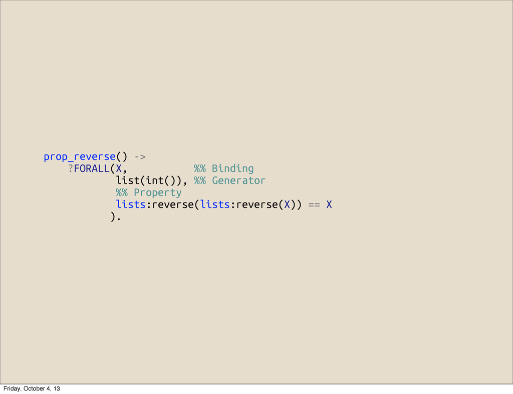 prop_reverse() -> ?FORALL(X, %% Binding list(in...