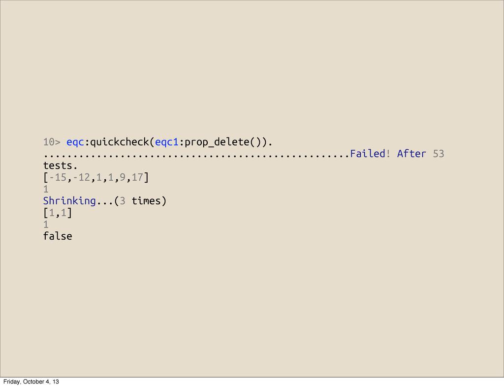 10> eqc:quickcheck(eqc1:prop_delete()). ..........