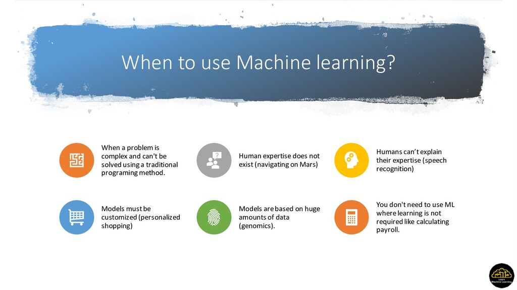 When to use Machine learning? When a problem is...