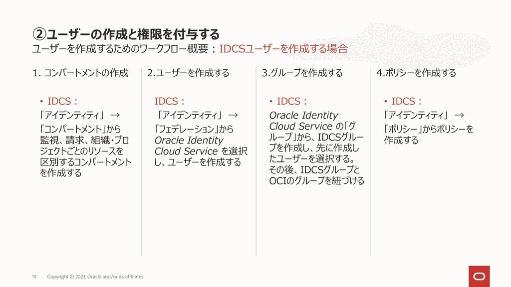 ユーザーを作成するためのワークフロー概要:IDCSユーザーを作成する場合 1. コンパートメン...