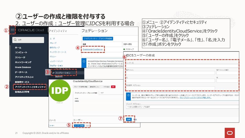 ④ 2. ユーザーの作成:ユーザー管理にIDCSを利用する場合 21 Copyright © ...