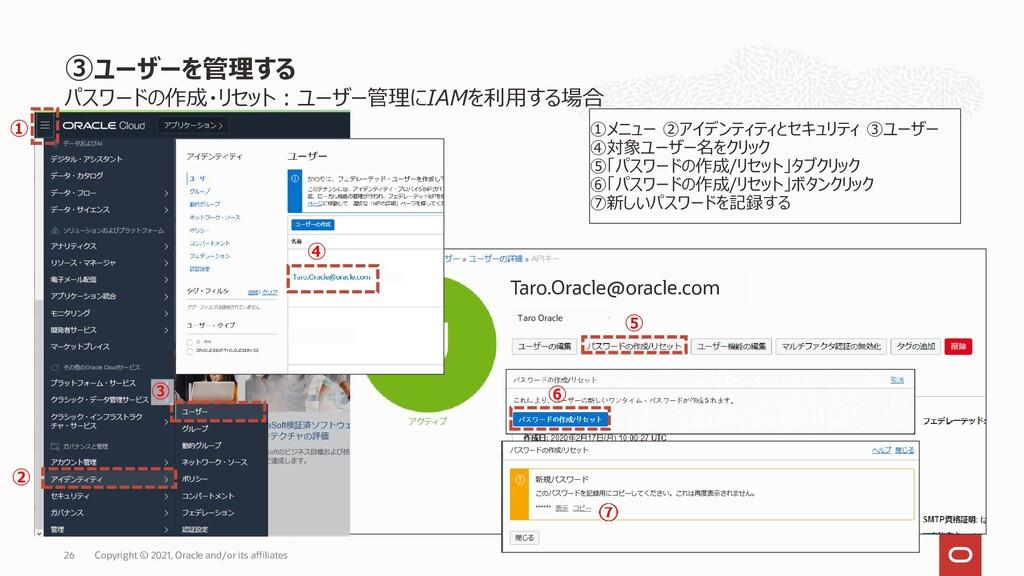 パスワードの作成・リセット:ユーザー管理にIAMを利用する場合 26 Copyright © ...
