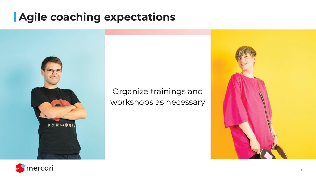17 Agile coaching expectations Organize trainin...