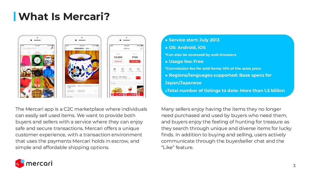 3 What Is Mercari? ● Service start: July 2013 ●...