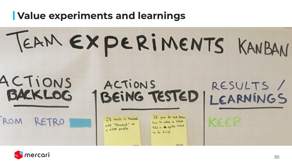 30 Value experiments and learnings