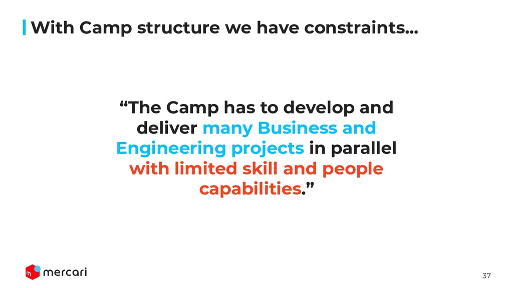"""37 With Camp structure we have constraints... """"..."""