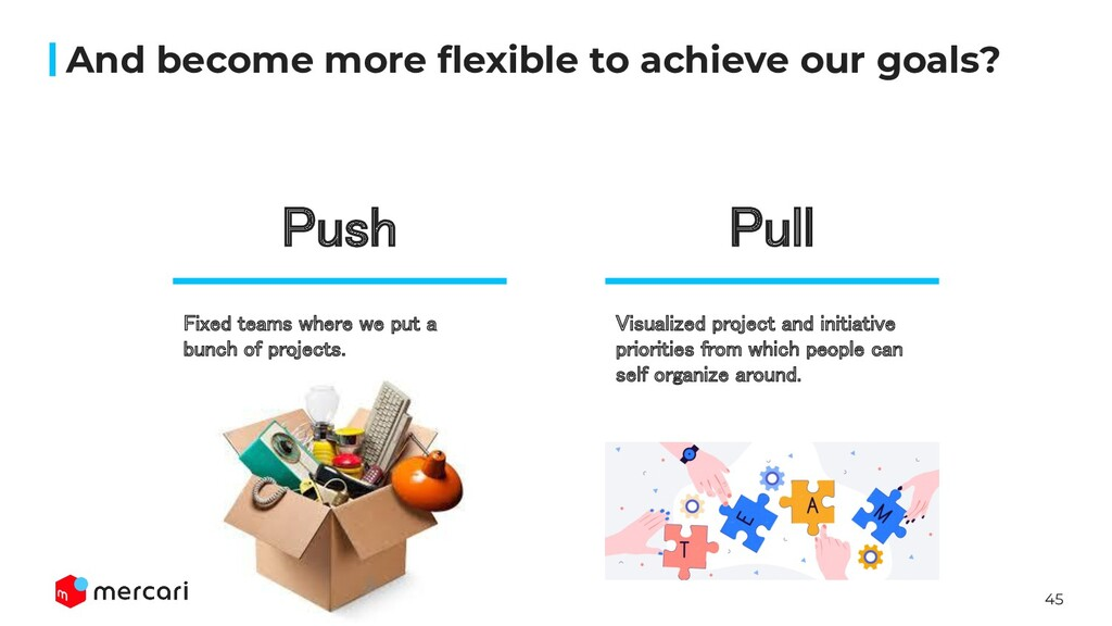 45 And become more flexible to achieve our goals...