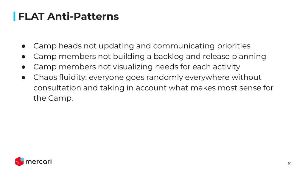 61 FLAT Anti-Patterns ● Camp heads not updating...