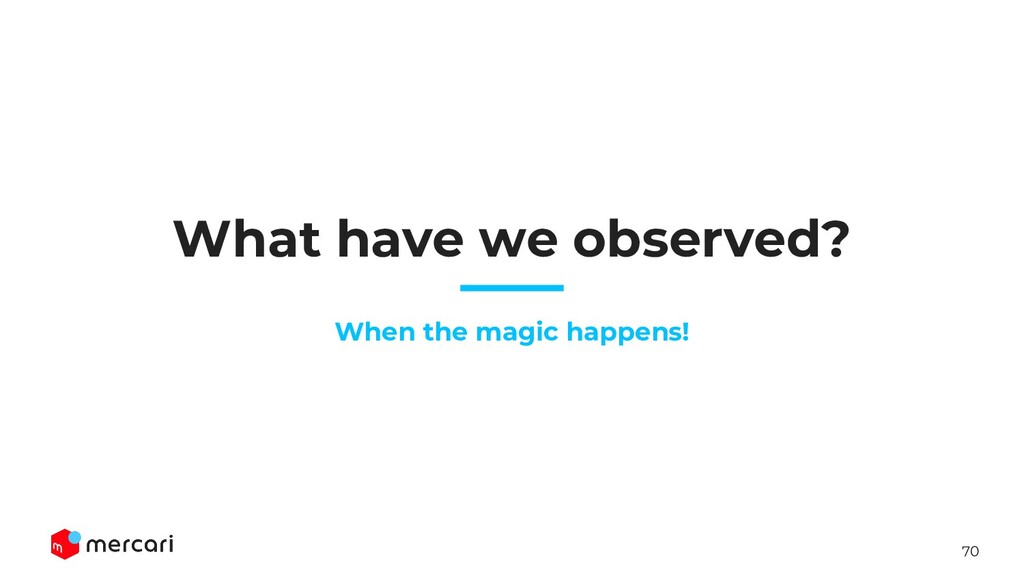 70 What have we observed? When the magic happen...