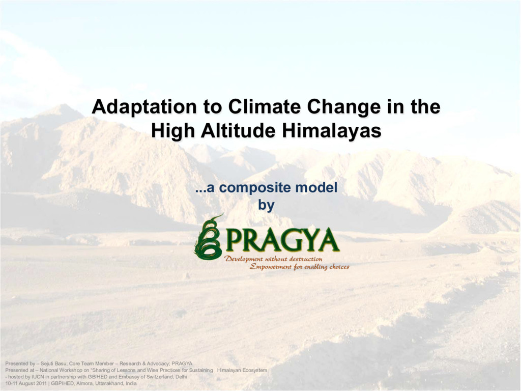 Adaptation to Climate Change in the High Altitu...
