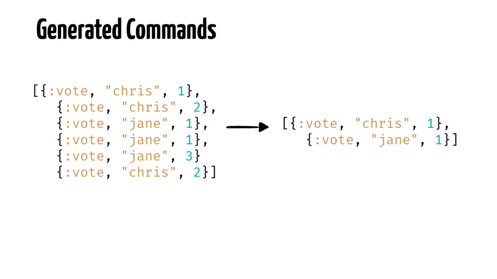 "Generated Commands [{:vote, ""chris"", 1}, {:vote..."