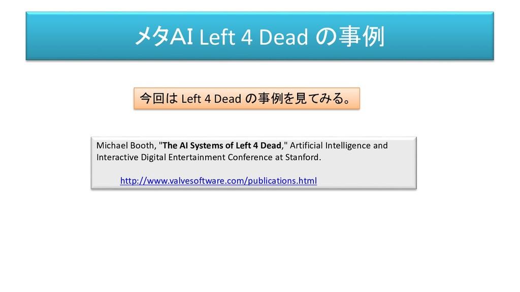 """メタAI Left 4 Dead の事例 Michael Booth, """"The AI Sys..."""