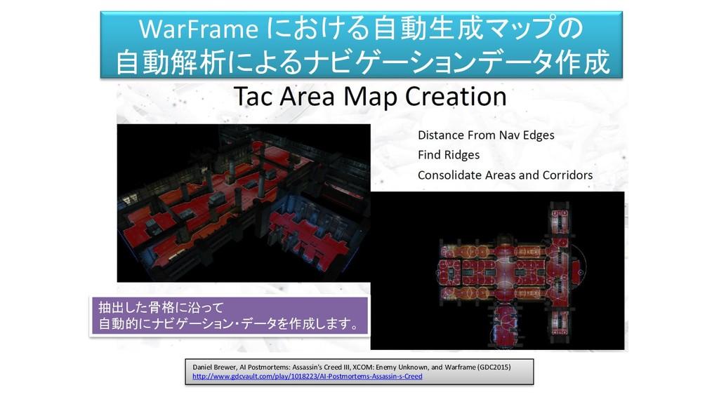 WarFrame における自動生成マップの 自動解析によるナビゲーションデータ作成 抽出した骨...
