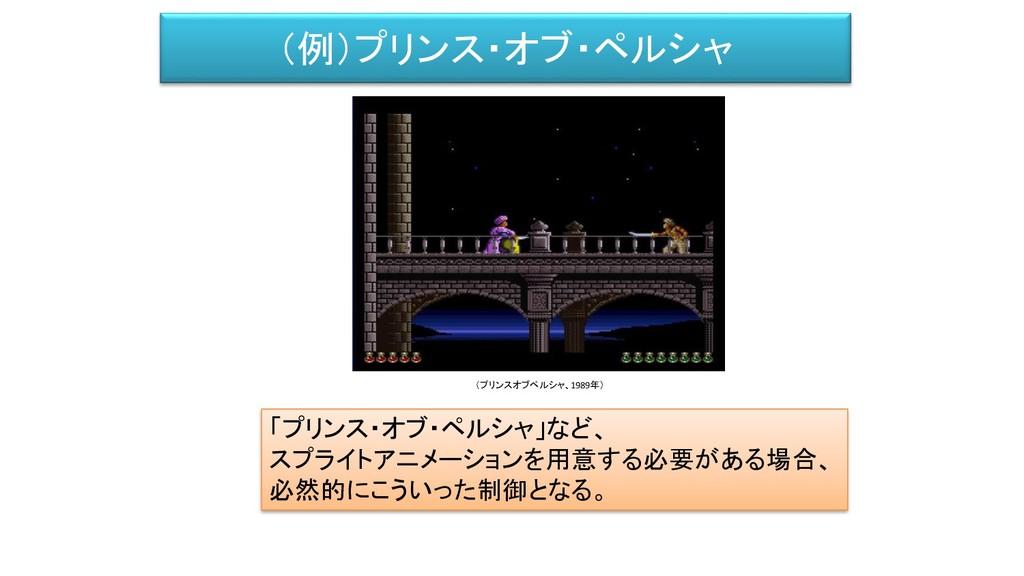 (例)プリンス・オブ・ペルシャ 「プリンス・オブ・ペルシャ」など、 スプライトアニメーションを...