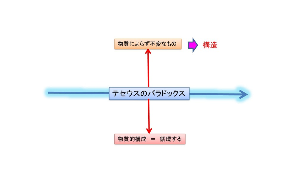 テセウスのパラドックス 物質的構成 = 循環する 物質によらず不変なもの 構造