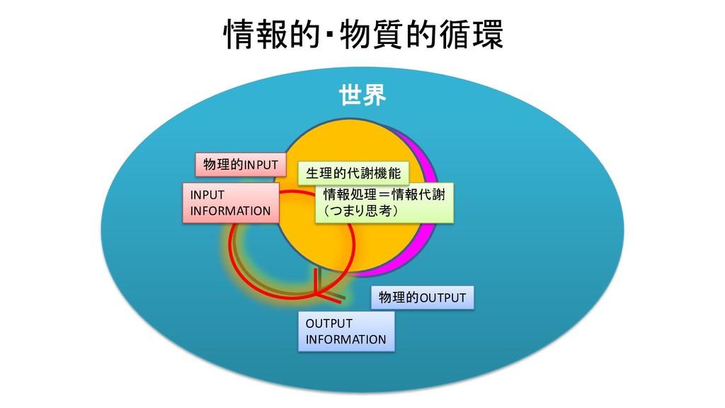 世界 情報的・物質的循環 物質 物理的OUTPUT 代謝機能 情報 INPUT INFORMA...