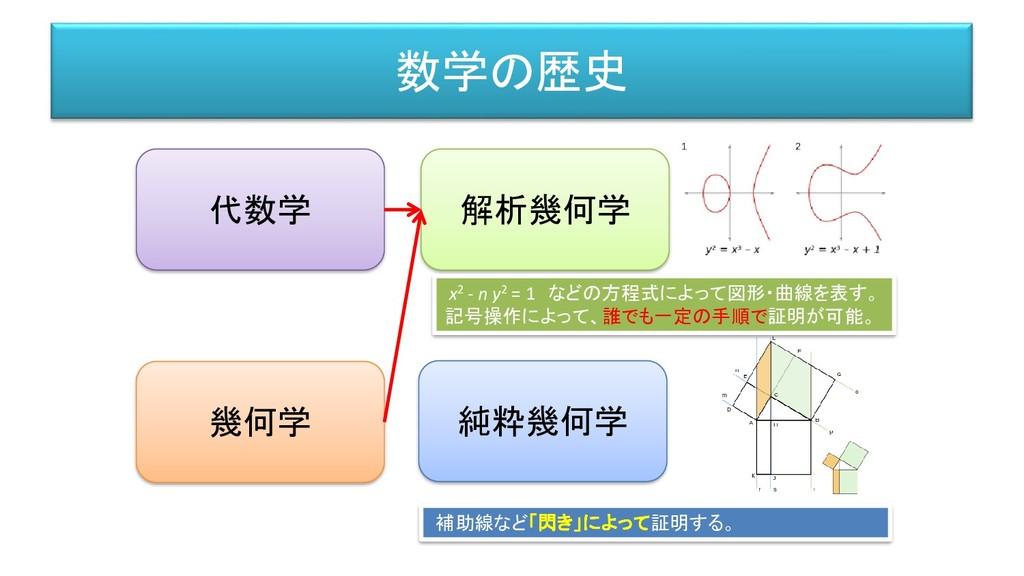 数学の歴史 代数学 幾何学 解析幾何学 純粋幾何学 x2 - n y2 = 1 などの方程式に...