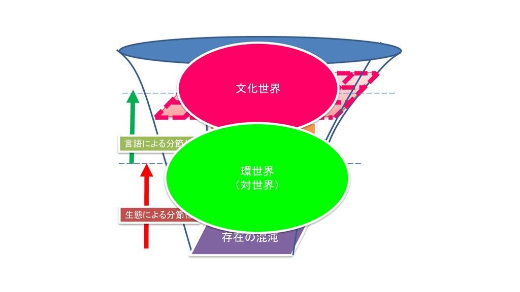 存在の混沌 生態による分節化 言語による分節化 世界 創造のプロセス =存在の意味分節 文化世...