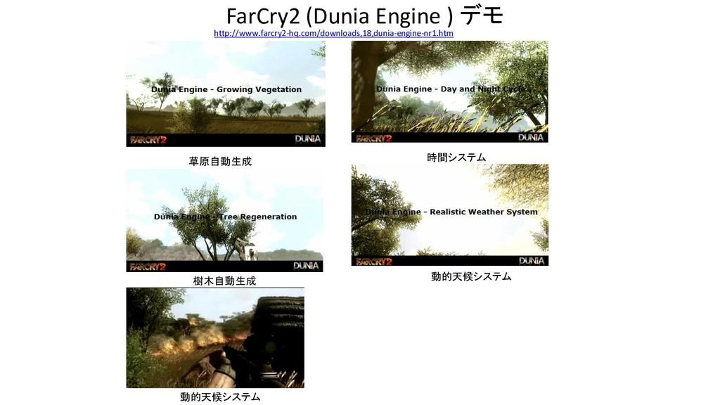 FarCry2 (Dunia Engine ) デモ 草原自動生成 時間システム 樹木自動生成...