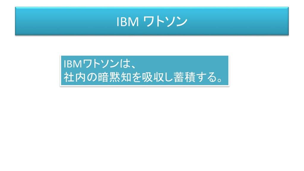 IBM ワトソン IBMワトソンは、 社内の暗黙知を吸収し蓄積する。