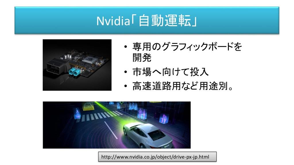 Nvidia「自動運転」 • 専用のグラフィックボードを 開発 • 市場へ向けて投入 • 高速...