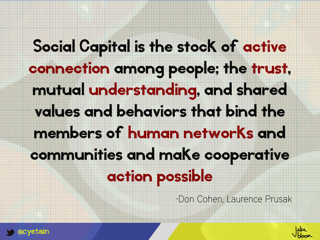 @cyetain Social Capital is the stock of active ...