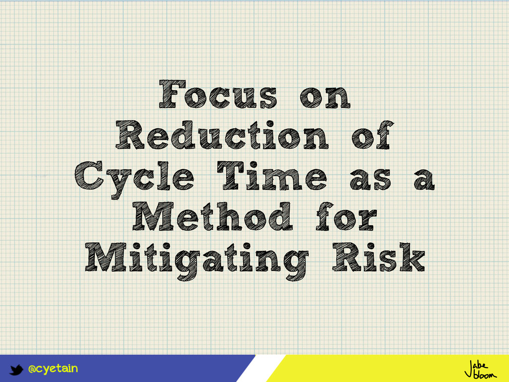 @cyetain Focus on Reduction of Cycle Time as a ...