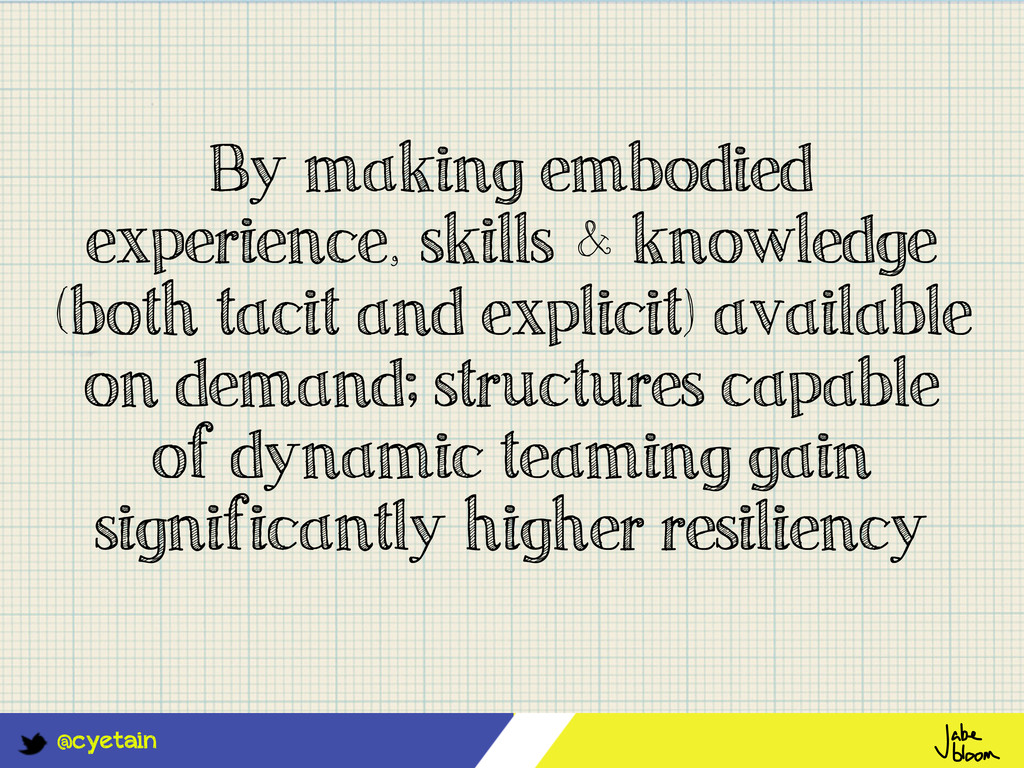@cyetain By making embodied experience, skills ...